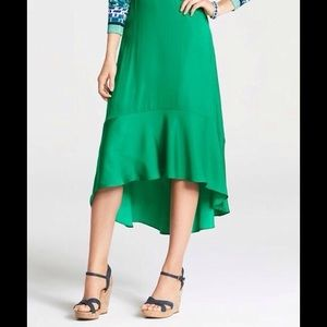 Ann Taylor Green Silky Hi-Low Skirt 8 NWT